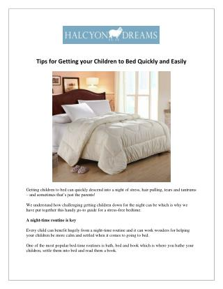 Tips for Getting your Children to Bed Quickly and Easily