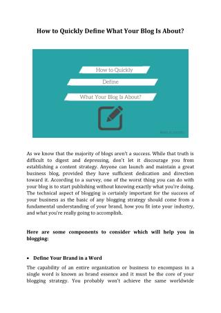 How to Quickly Define What Your Blog Is About?