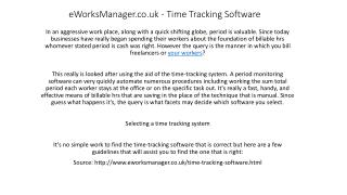Time Tracking Software from eWorksManager