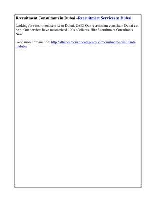 Recruitment Consultants in Dubai –Recruitment Services in Dubai