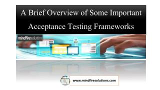 A Brief Overview of Some Important Acceptance Testing Frameworks