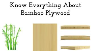 Know Everything About Bamboo Plywood