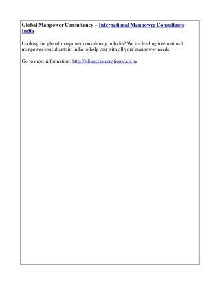 Global Manpower Consultancy – International Manpower Consultants India