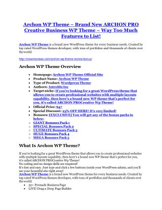 Archon WP Theme Review and GIANT $12700 Bonus-80% Discount