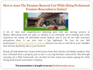 How to Asses The Furniture Removal Cost While Hiring Professional Furniture Removalists in Sydney?