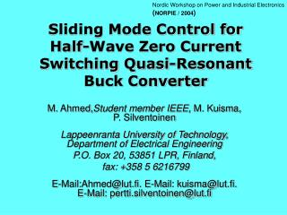 Sliding Mode Control for Half-Wave Zero Current Switching Quasi-Resonant Buck Converter