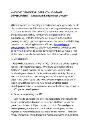 iOS vs Android game development