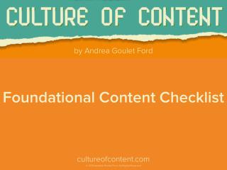 Culture of Content: Foundational Content Checklist