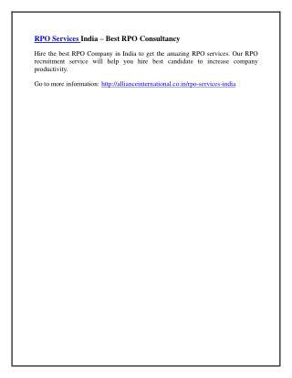 RPO Services India – Best RPO Consultancy