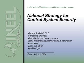 National Strategy for  Control System Security