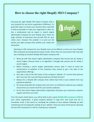 How to choose the right Shopify SEO Company?