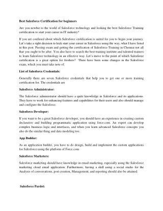 Salesforce Training  institutes in Chennai