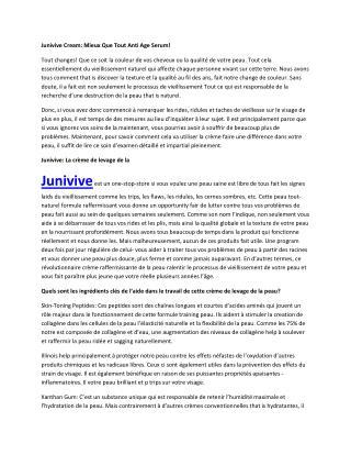 Junivive - Il rend votre peau charmante et belle