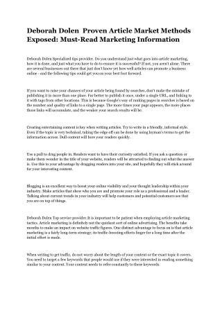 Deborah Dolen  Proven Article Market Methods Exposed Must-Read Marketing Information
