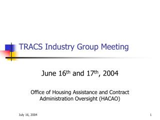 TRACS Industry Group Meeting