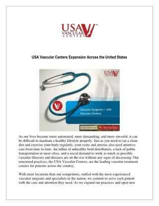 USA Vascular Centers Expansion Across the United States