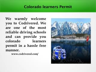 Colorado learners Permit