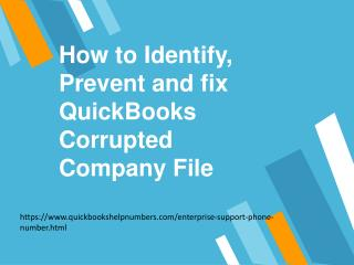 How to Identify, Prevent and fix QuickBooks Corrupted Company File