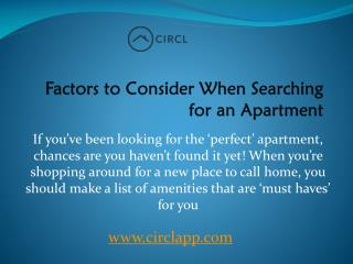 Factors to Consider When Searching for an Apartment