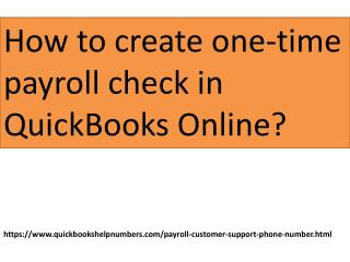 How to create one-time payroll check?