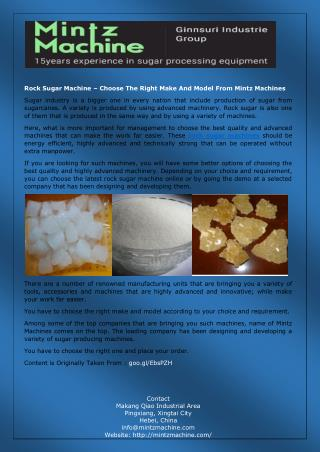Rock Sugar Machine – Choose The Right Make And Model From Mintz Machines