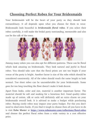 Choosing Perfect Robes for Your Bridesmaids