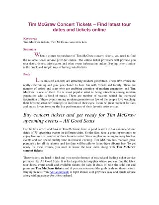 Tim McGraw Concert Tickets – Find latest tour dates and tickets online
