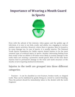 Importance of Wearing a Mouth Guard in Sports