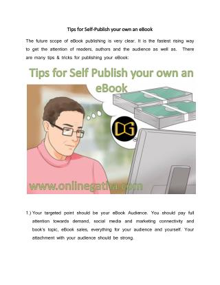 Tips for Self-Publish your own Ebook