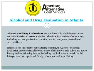 Alcohol and Drug Evaluation Atlanta GA