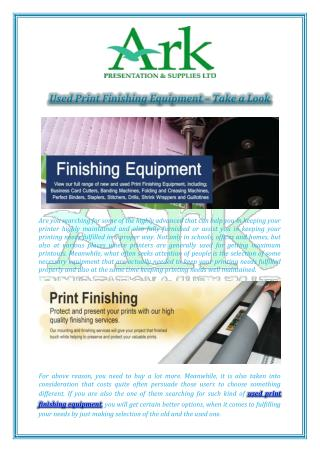 Used Print Finishing Equipment – Take a Look