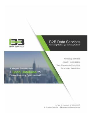 B2B Data Services - Data Management - Data Providers