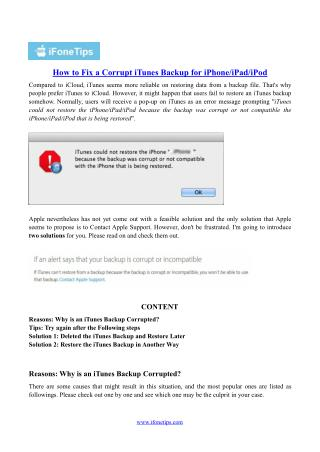 How to Fix a Corrupt iTunes Backup for iPhone/iPad/iPod
