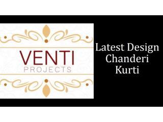 Latest Design Green & Brown Chanderi Kurti