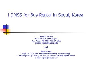 I-DMSS for Bus Rental in Seoul, Korea