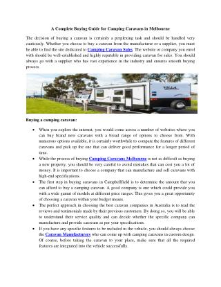 A complete buying guide for camping caravans in melbourne