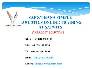 SAP Simple Logistics Online Training, SAP Logistics Courses