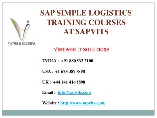 What is SAP S4 HANA Logistics, SAP HANA Logistics Training