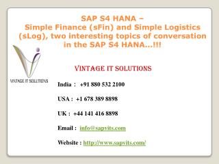 SAP HANA Online Training at SAPVITS