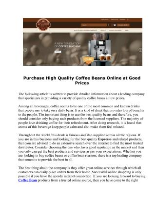Purchase High Quality Coffee Beans Online at Good Prices