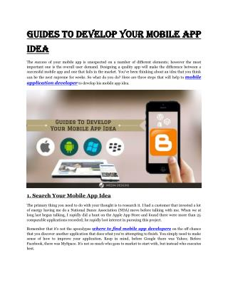 Guides To Develop Your Mobile App Idea