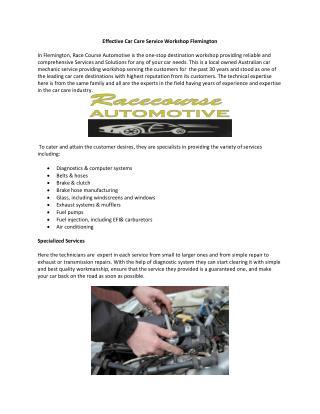Effective Car Care Service Workshop Flemington