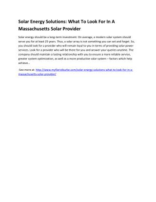 Solar Energy Solutions: What To Look For In A Massachusetts Solar Provider