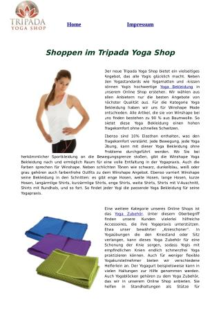 Shoppen im Tripada Yoga Shop