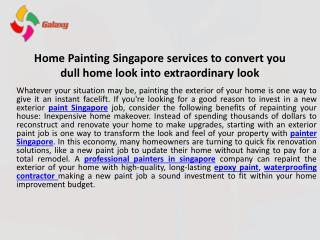 Home painting singapore services to convert you dull home look into extraordinary look