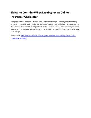 Things to Consider When Looking for an Online Insurance Wholesaler