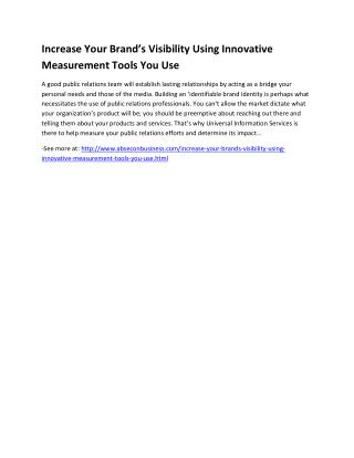 Increase Your Brand's Visibility Using Innovative Measurement Tools You Use
