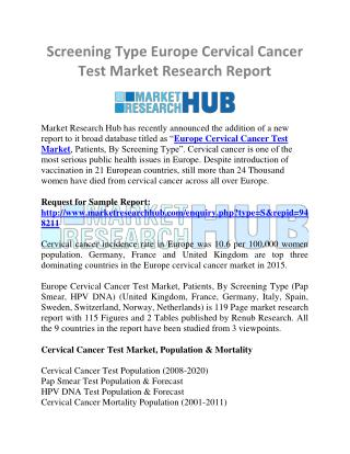 Screening Type Europe Cervical Cancer Test Market Research Report