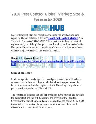 Pest Control Global Market: Size & Forecasts- 2020