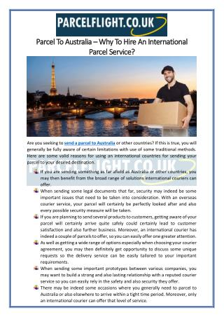 Parcel To Australia – Why To Hire An International Parcel Service?